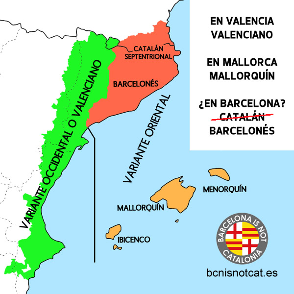 Mapa de la lengua catalana, valenciana, barcelonesa y mallorquina