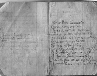 páginas borrosas de un cuadernillo donde se recogen romances religiosos