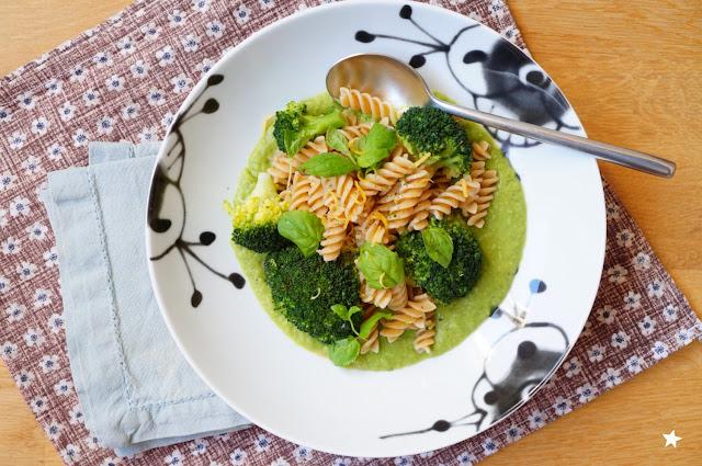 pâtes printanières brocolis petits pois