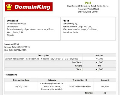 domain bought on domainking by cashenvoy