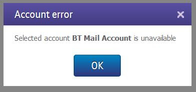 Bt mail error account