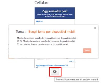 Mostra la versione mobile del tema sui dispositivi mobili