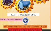 Council for Scientific and Industrial Research Recruitment 2017-Technical Assistants and Technical Officers