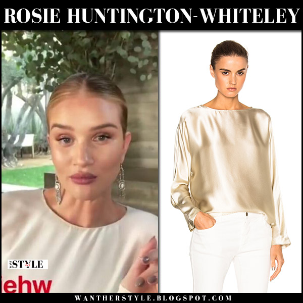 Rosie Huntington-Whiteley in ivory silk blouse nili lotan reade model style december 14