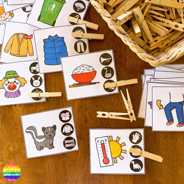 Rhyming Word Clip It Cards | you clever monkey
