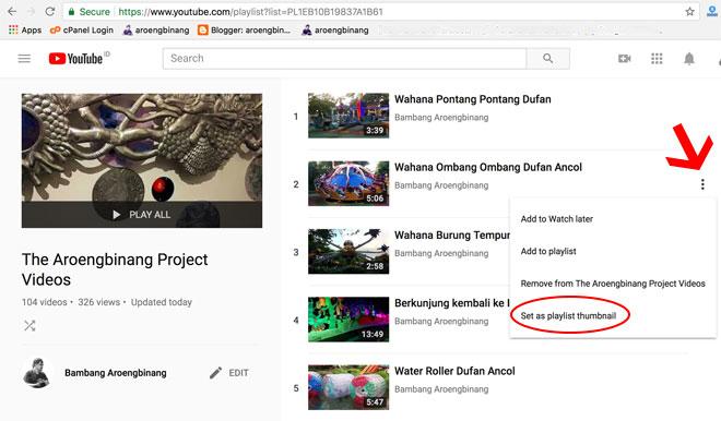 mengganti thumbnail playlist youtube