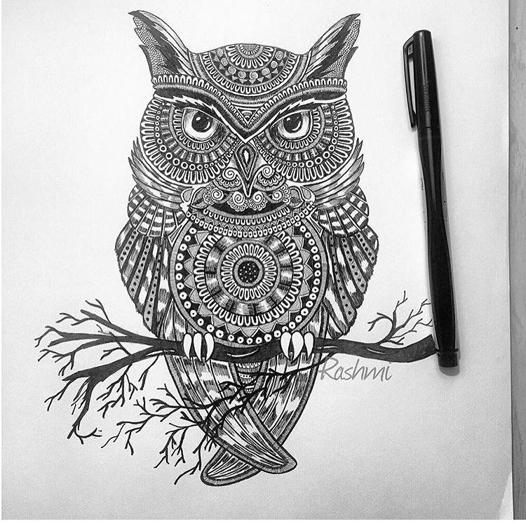 12-Owl-Rashmi-Krishnappa-Calm-and-Serenity-in-Balanced-Pen-drawings-www-designstack-co