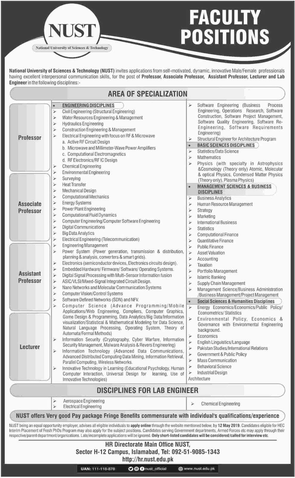 NUST Islamabad Jobs 2019 | National University of Science & Technology