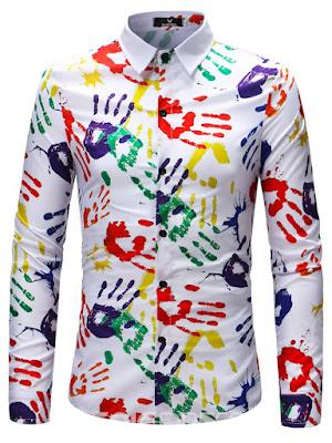 Ericdress Color Block Print Mens Long Sleeve Lapel Shirt