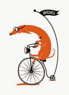 dachshund on an antique bicycle illustration by Kayla King
