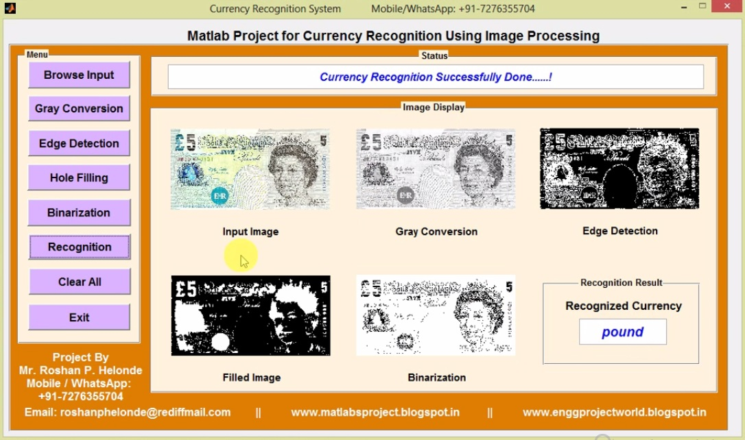 Currency Recognition Using Image Processing Matlab Project Code