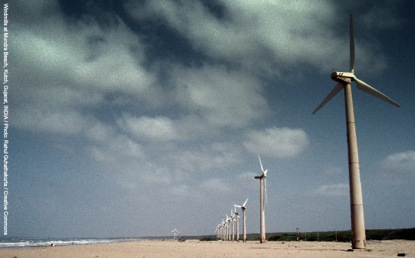 Image Attribute: Windmills at Mundra Beach, Kutch, Gujarat, India / Photo by Rahul Guhathakurta / Creative Commons 2.0 CC-BY