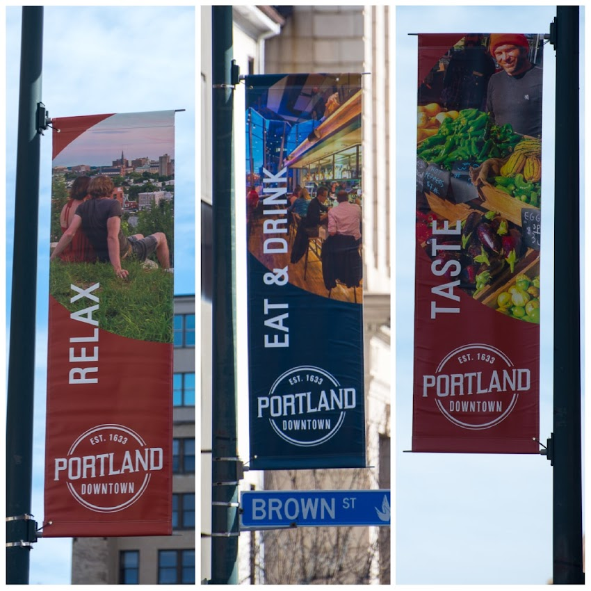 Portland, Maine March 2016 Portland Downtown banners with photos by Corey Templeton.