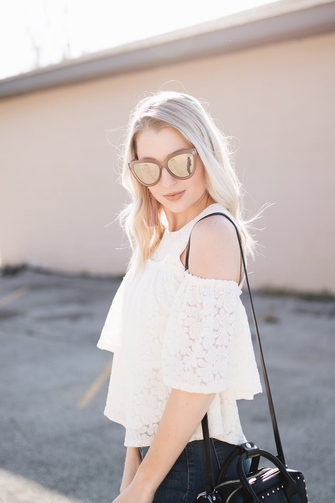 lace cold shoulder top | le specs sunglasses