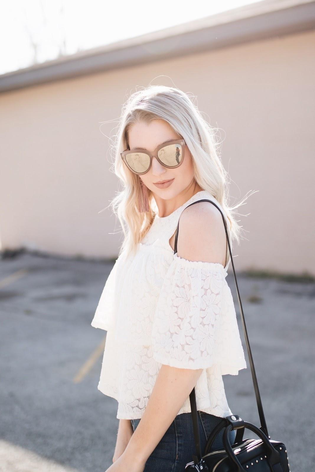 lace cold shoulder top | le specs sunglasses