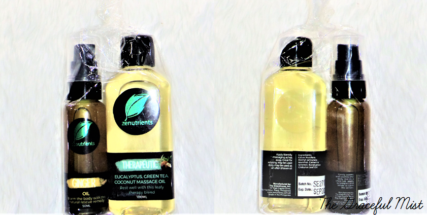 Packaging of Zenutrients' Therapeutic Eucalyptus, Green Tea, Coconut Massage Oil, and Ginger Oil | Essentials Oils Review | by @TheGracefulMist (www.TheGracefulMist.com) - Top Fitness, Health and Lifestyle Blogger/Freelance Writer in Quezon City, Metro Manila (National Capital Region or NCR), Philippines