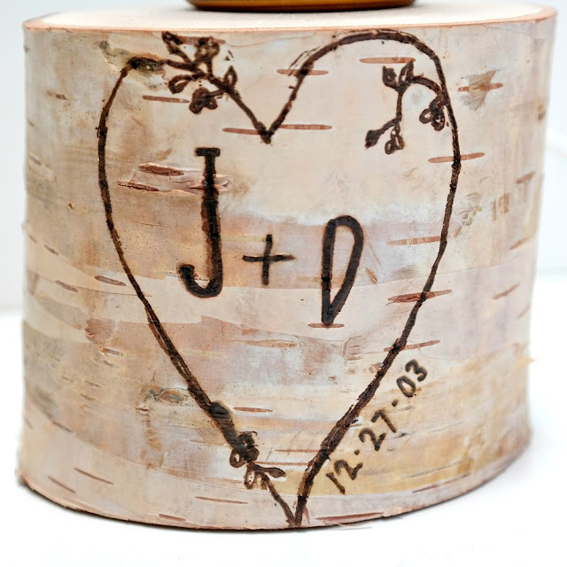 Wood Burned Heart Initials and Date on a Birch Pillar Lamp Base by Dana Tatar