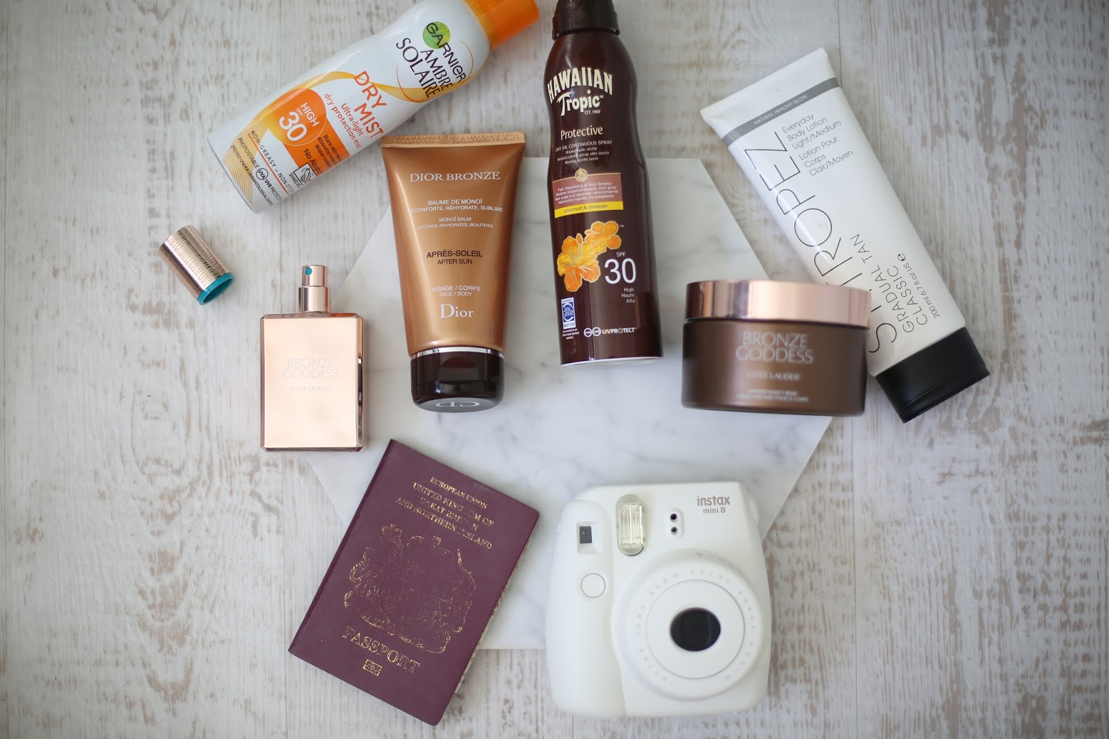 flatlay with beauty products