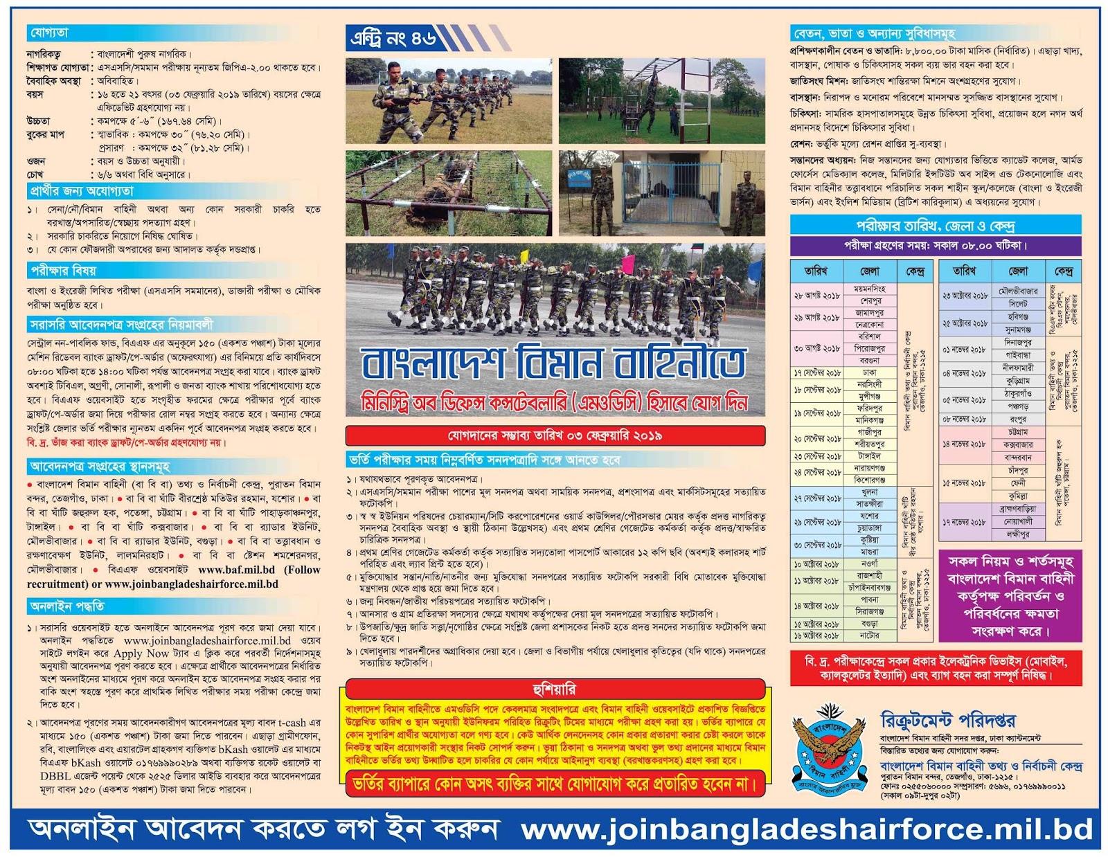 Bangladesh Air Force MODC Recruitment Circular 2018