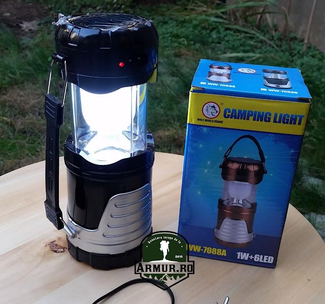 Lampa felinar solar incarcare usb telefon