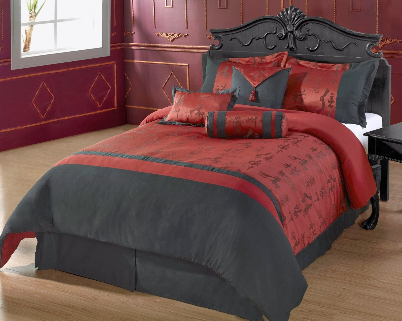 Cozy Beddings Oyuki 7-Piece Comforter Set, Queen, Burgundy