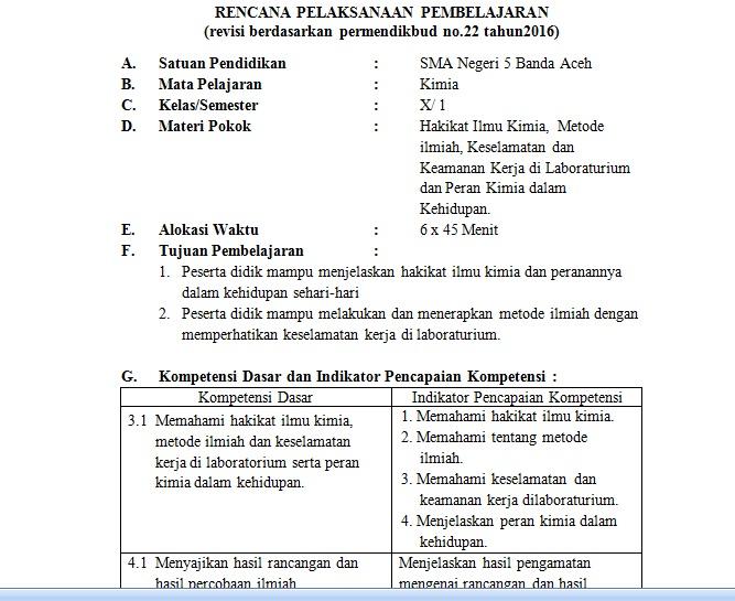 Otak Pintar Docx Rpp Kd 3 1 Hakikat Ilmu Kimia Kelas X K13 Lengkap