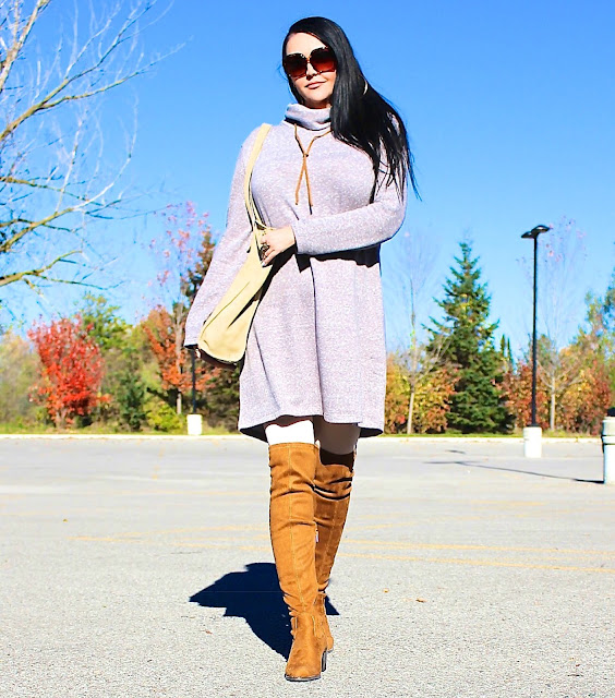 fall fashion, fall trends, sweater dress, sued boots, thigh high boots, fall outfit