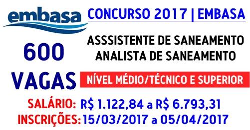 concurso Embasa Bahia 2017