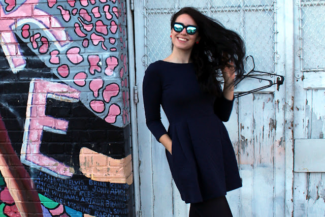 Fashion blogger Emma Louise Layla in Petit Bateau quilted cotton dress in San Francisco
