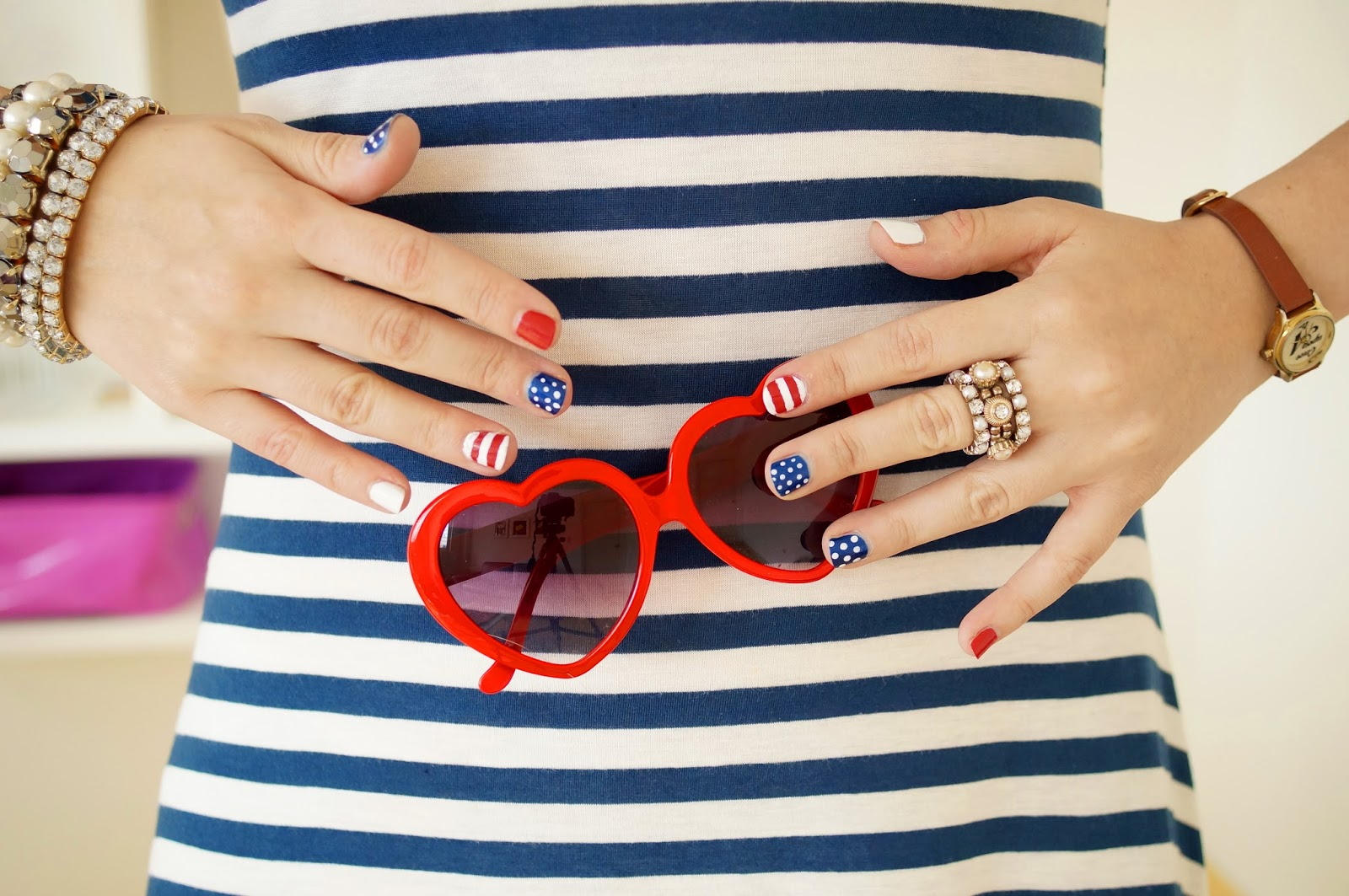 4th of July nails, USA Nails, Easy nails tutorial
