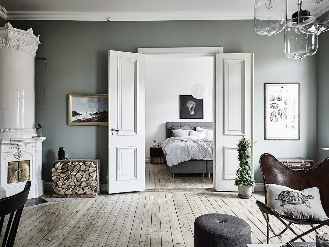 d couvrir l 39 endroit du d cor murs vert de gris. Black Bedroom Furniture Sets. Home Design Ideas