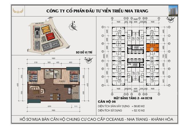 Sơ đồ căn hộ số 06 tòa OC1B Viễn Triều Nha Trang