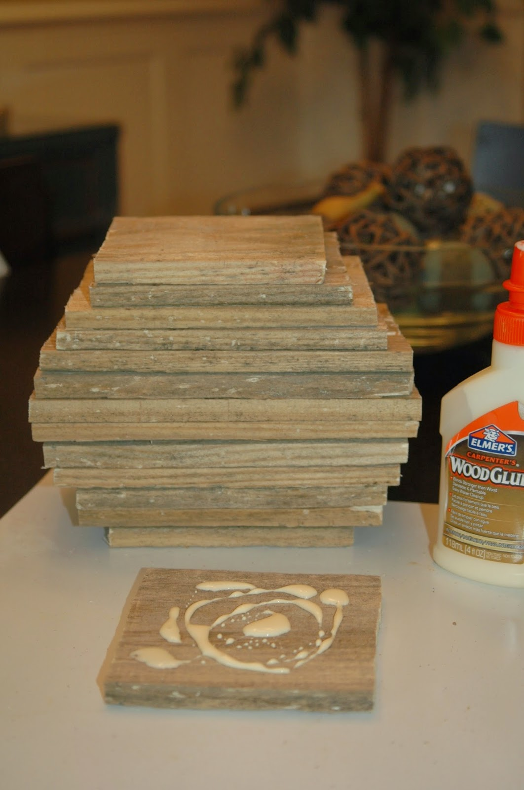 Gluing pieces for rustic pallet pumpkins