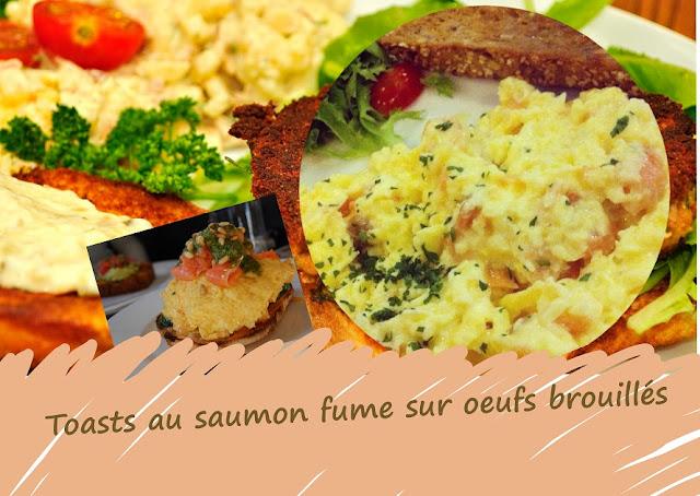 toasts au saumon fumé et oeufs brouillés à la crème