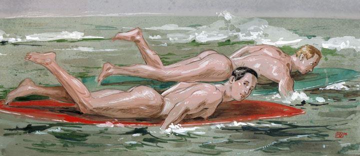 Hermana dibujando un retrato de su hermano desnudo