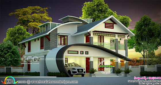 2422 sq-ft 4 bedroom unique ultra modern Kerala home design