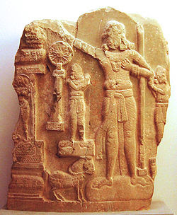 A Chakravatin depicted on a relief carving from Amaravati, Andhra Pradesh, 1st century BC.
