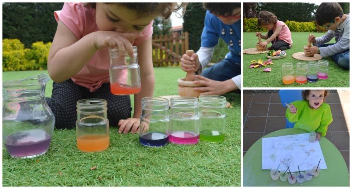 manualidad infantil creativa primavera: pintura casera y pigmentos naturales
