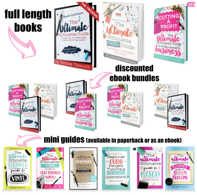 Silhouette School books, silhouette books, silhouette guides, silhouette help, silhouette tips, silhouette school books