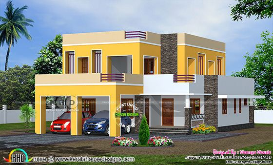 2400 square feet 4 bedroom flat roof residence