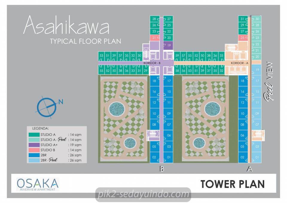 Tower Plan Asahikawa Apartment Osaka Riverview