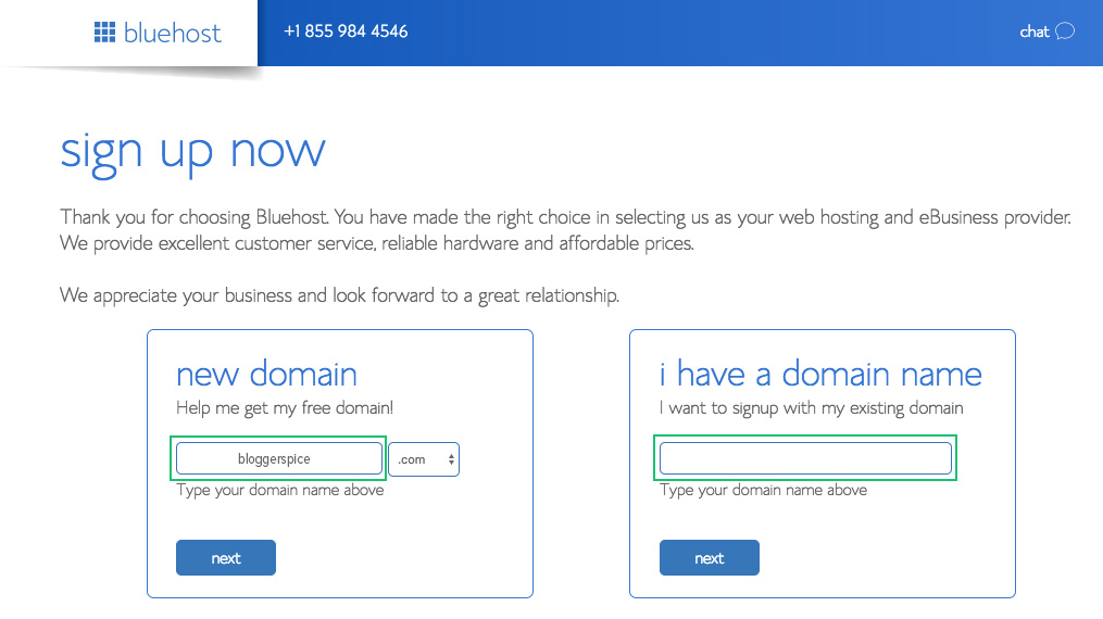 Get a Free Domain Name from bluehost