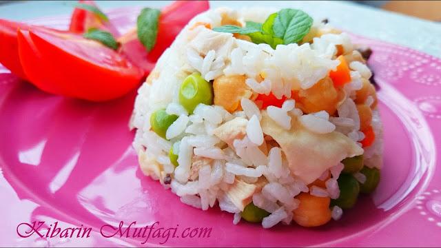 Nohutlu bezelyeli tavuk etli tane tane pirinç pilavı nasıl yapılır resimli anlatım