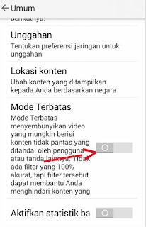 Cara Memblokir Konten Porn0 Di YouTube Android langkah keempat