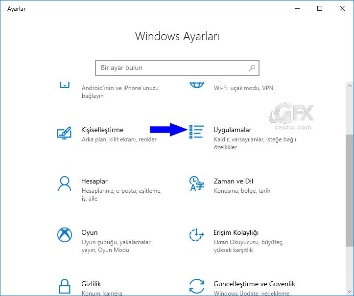 Windows 10'da ayarlar arayüzünden programları kaldırma: www.ceofix.com