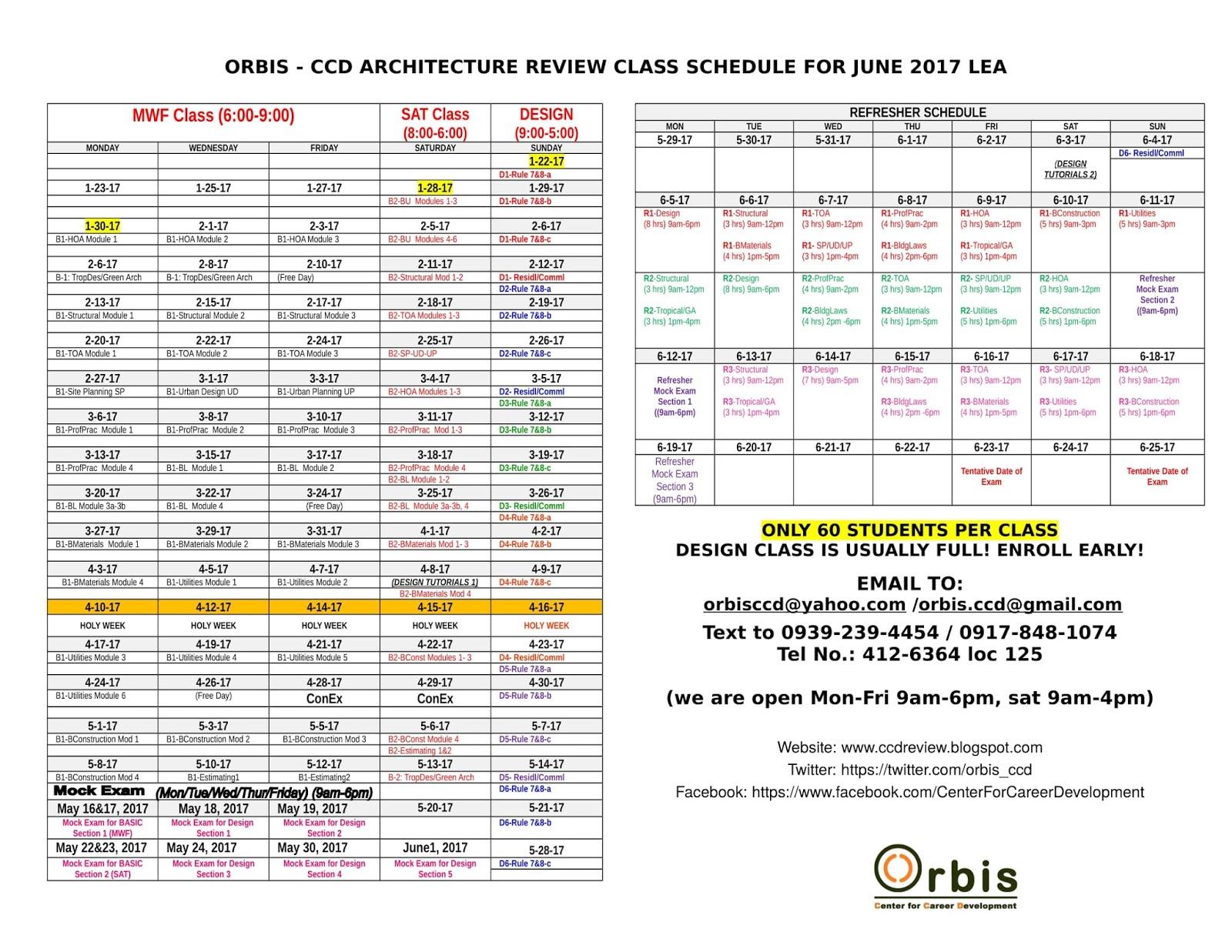 architecture schedule. june 2017 architecture board exam review schedule