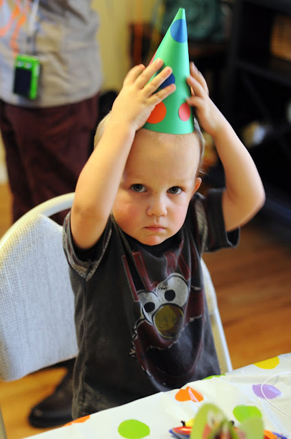 toddler in party hat