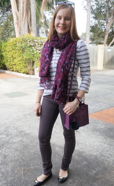 skinny jeans, striped henley and purple accessories: spring SAHM style easy denim outfit | AwayFromBlue