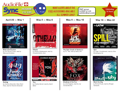 AudioSync brochure listing the pairs of books available for download. The books are listed in the main post.