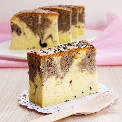 Black sesame spiced marble japanese cheesecake